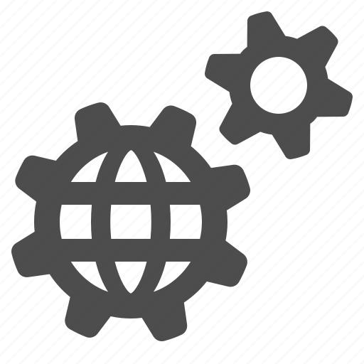 cogs, gears, globe, network, optimise, seo, sprockets icon
