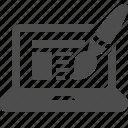laptop, layout, paint brush, seo, web design, web page icon