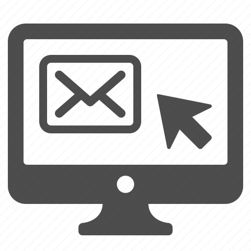 click, computer, email, envelope, mail, monitor icon