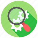 find, gear, magnifire, options, search, settings icon icon