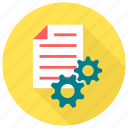 document cog, file cog, file optimized, file with gear, optimize, optimized, page cog icon icon