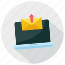 computer, functions, laptop, mail, upload icon icon