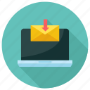 download, email, laptop icon, mail, message icon