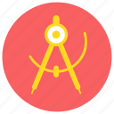compass, direction, education, learn, school, stationery, study icon icon