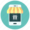 gift, gift box, mobile, mobile phone gift, oline shopping, phone, set icon