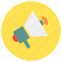 attention, bulhorn, news, speaker, statement icon icon