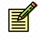 document, edit, note, pencil, writing icon