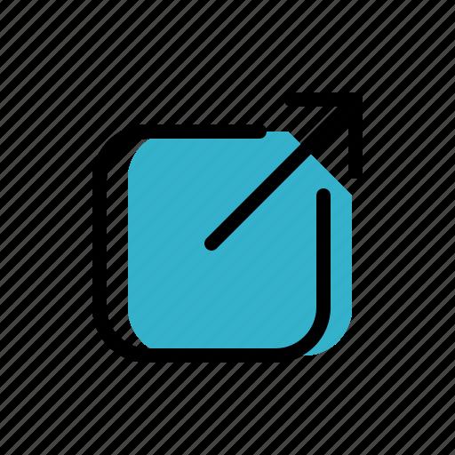 arrow, box, share, social media icon