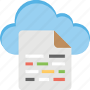 cloud data, cloud drive, cloud storage, sky docs, wireless data technology icon