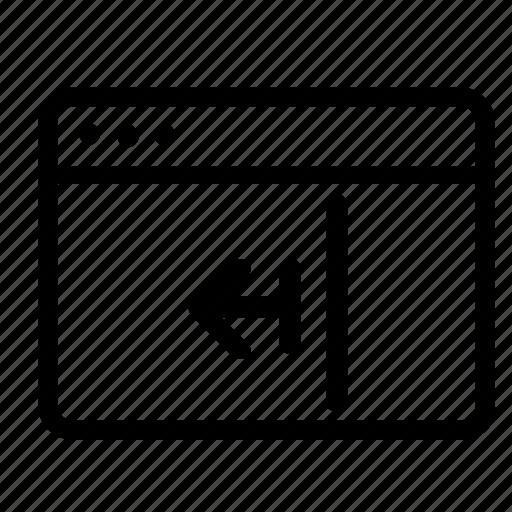 browser, left, move, slide icon