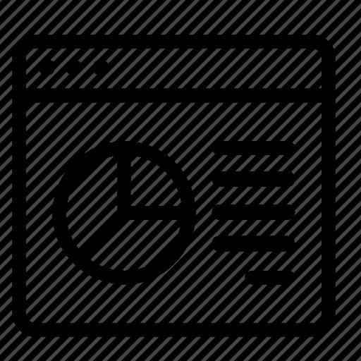 browser, chart, pie, statistics icon