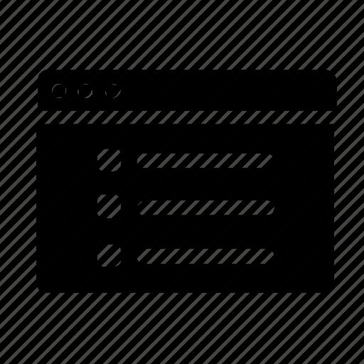 list, webpage, website, window icon