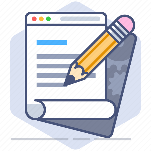 blog, blogger, development, letter, pencil, web page, writing icon