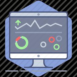 analysis, charts, dashboard, development, manage, management, pc icon
