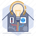 bulb, control, development, house, manage, management, yumminky icon