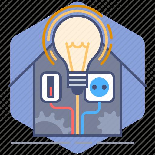 bulb, control, development, house, manage, management, yumminky icon