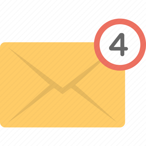 emails, four messages, messages, received messages, sms icon