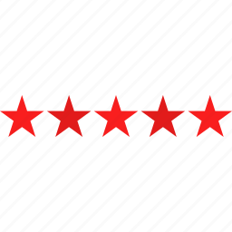 customer, five, review, star icon