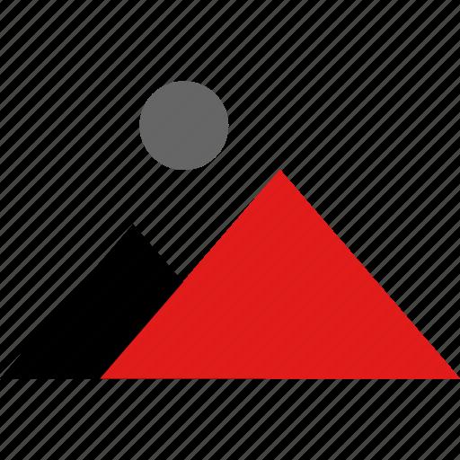mountains, online, web icon