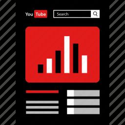 analytics, online, views, youtube icon