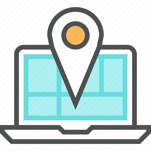 gps, laptop, location, map, mapping, mark, navigation, pin icon