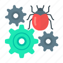 bug, bug fixing, development, fixing, gear, programming, web development icon