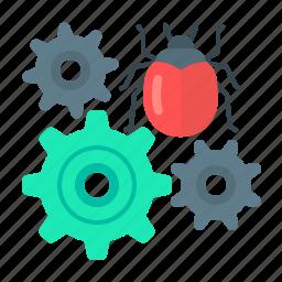 bug, bug fixing, development, fixing, gear, programming, web development icon