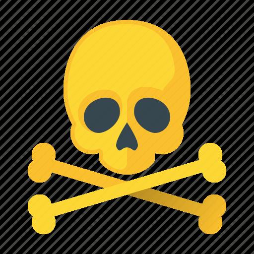 caution, danger, error, hazard, problem, skull, warning icon