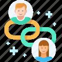 communication, link, link building, network, seo, social, web development icon