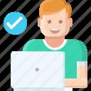 developer, laptop, people, programming, seo, users, working icon