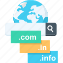.com, .in, domain, info, search, website icon