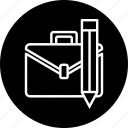 bag, briefcase, carry, office, pencil, stationary icon