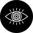 eye, gear, mission, preferences, settings, vision icon