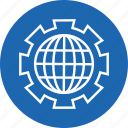cog, cogwheel, gear, globe, setting icon