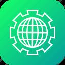cog, cogwheel, gear, globe, setting icon