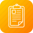 clipboard, document, file, notepad, plan, schedule, write icon
