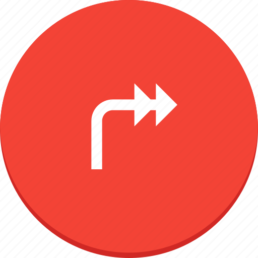 arrow, design, direction, forward, material, right icon