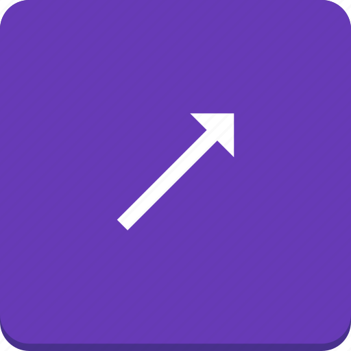 arrow, direction, material design, right, top icon