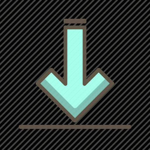 data, down arrow, download icon