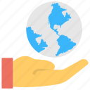 geography, globe on hand, internet services, web hosting provider, web services icon