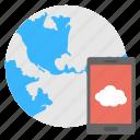 cloud services, internet connection, mobile cloud, technology app, web hosting icon