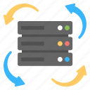 data backup, information processing, online data process, server storage icon
