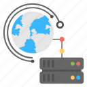 database server, global server, internet server, server network, worldwide server connection icon