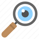 eye with magnifier, focus, monitoring, search, zoom in icon