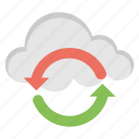cloud computing, cloud sync, data exchange, data refreshing, data synchronization icon