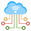 cloud computing, cloud networking, hotspot database, wifi cloud connection, wireless network icon