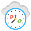 cloud gear clock, cloud management, cloud processing, cloud storage, effective time management icon