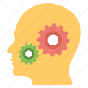 brainstorming, head with gears, mind gears, public relation, thinking concept icon