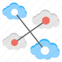 cloud computing, cloud connection, communication nodes, interlinked connections, web hosting icon