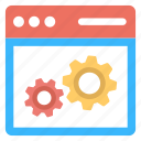 web data processing, web management, web panel maintenance, web settings, website development icon